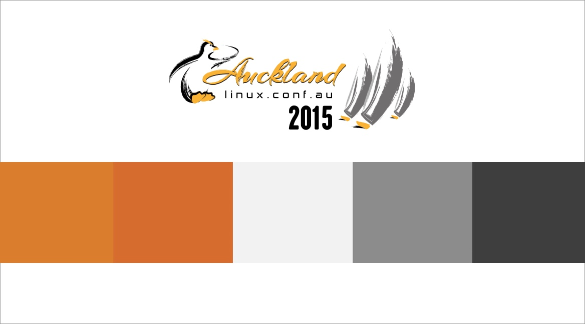 Initial colour scheme for the Linux Conference Auckland 2015 website.
