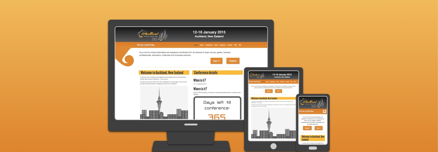 Linux Conference Auckland 2015 website feature image.