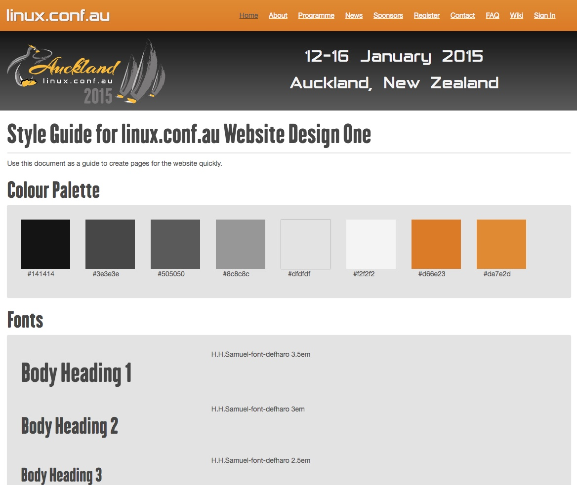Styleguide for the Linux Conference Auckland 2015 website.