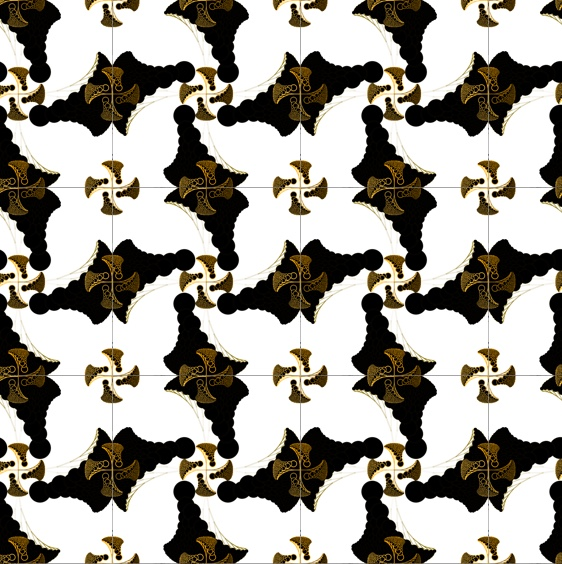 Black and gold pattern.