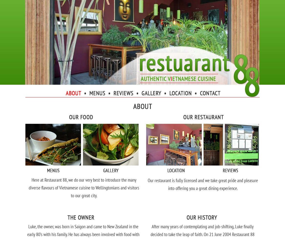 About page flat design for the Restaurant 88 website.