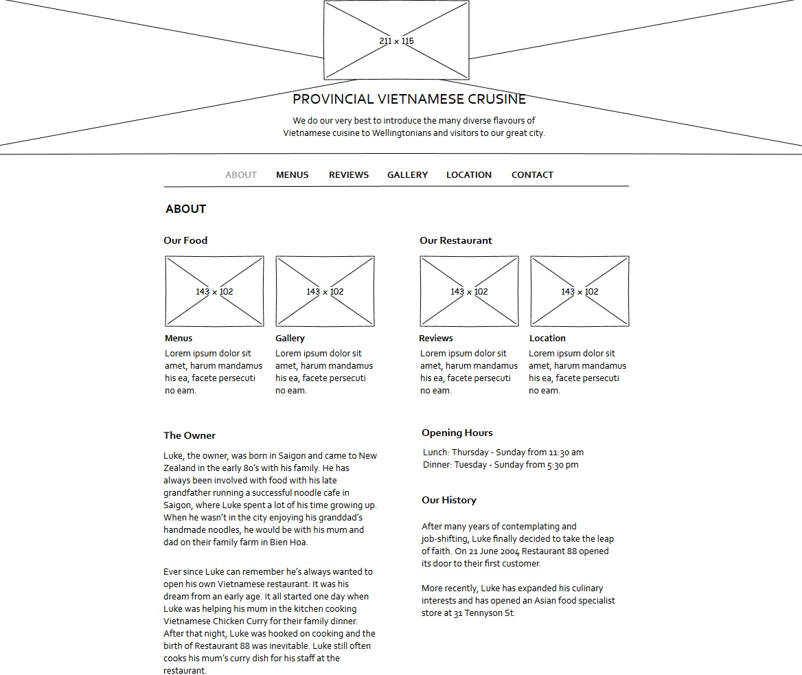About page wireframe for the Restaurant 88 website.